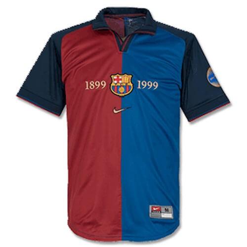 Retro Barcelona Home Centenary Football Shirt 1999