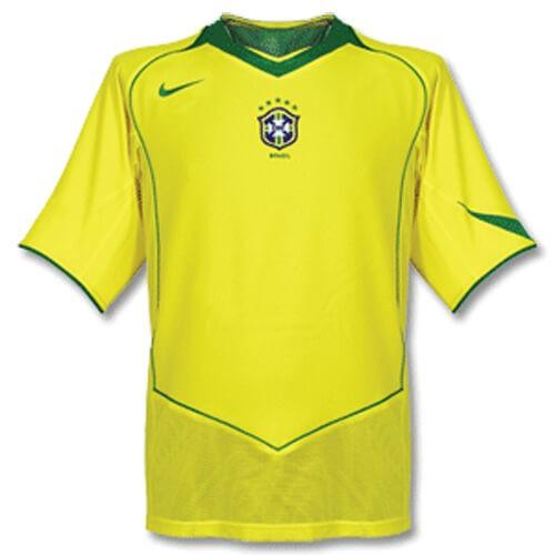 Retro Brazil Home Football Shirt 2004