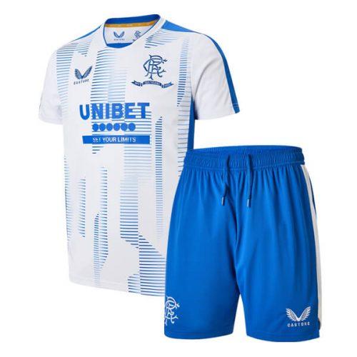 Rangers Pre Match Training Kids Football Kit - White Blue
